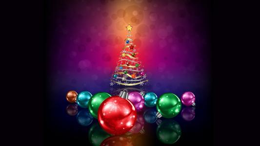 圣诞树,圣诞球,装饰,5K