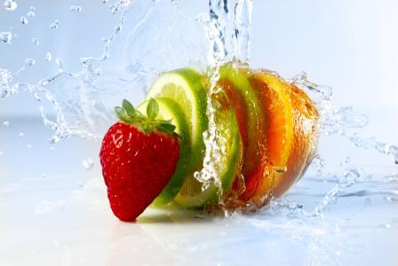 草莓,酸橙,橙,猕猴桃,8k(水平)