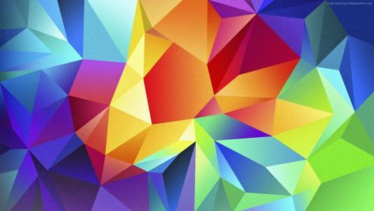 多边形,4k,高清壁纸,机器人,三角形,背景,橙色,红色,蓝色,模式(水平)