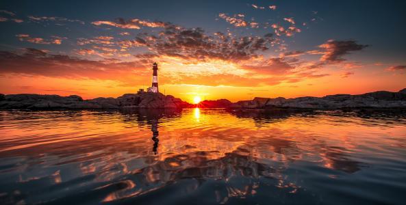 日落,灯塔,海滩,石头,5K