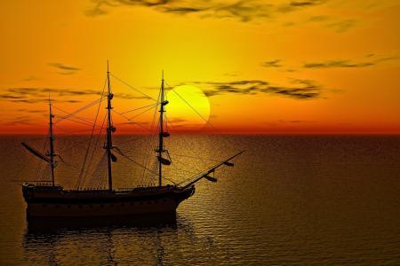 帆船黎明孤独航行