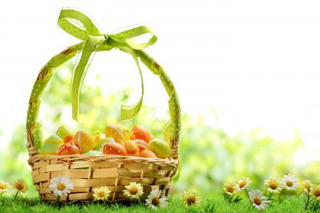 复活节,春天,鲜花,鸡蛋,篮子(水平)