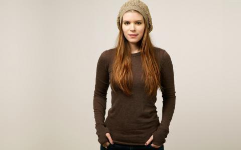 凯特·玛拉,女演员,红头发,白色背景,衬衫,美国恐怖故事(横向)