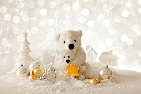 圣诞节,新年,熊,装饰(水平)