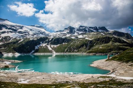 奥地利,5k,4k壁纸,8k,阿尔卑斯山,湖,山,云(水平)