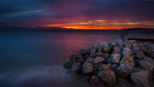 西雅图,4k,高清壁纸,5k,阿尔基,海滩,日落,日出,海,海洋,水(水平)