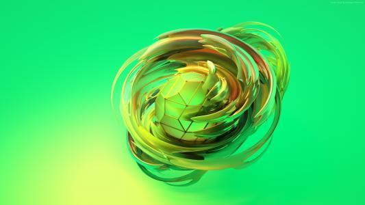 苹果梦想,3D,球体,绿色,HD(水平)