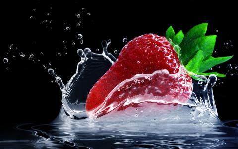 草莓水飞溅