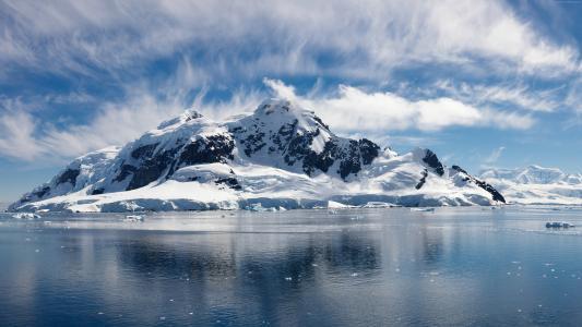 海,5k,4k壁纸,海洋,雪,岛,云,天空,水,冬季(水平)