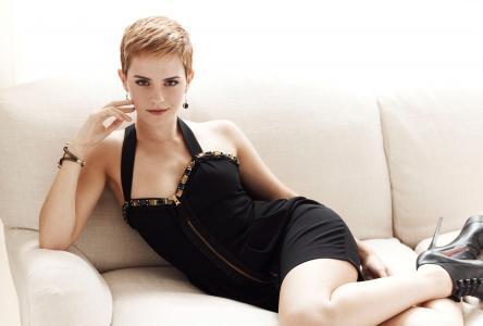 Emma Watson,EM,Emma Charlotte Duerre Watson,沙发,黑色礼服(水平)