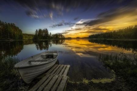 湖,小船,Ringerike,挪威,4K
