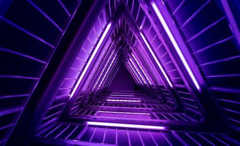 灯,紫色,霓虹灯,三角形,4K