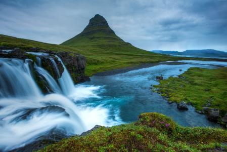 Snæfellsnes,5k,4k壁纸,冰岛,瀑布,丘陵,河,(水平)