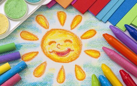 蜡笔画,五颜六色,太阳,HD,4K