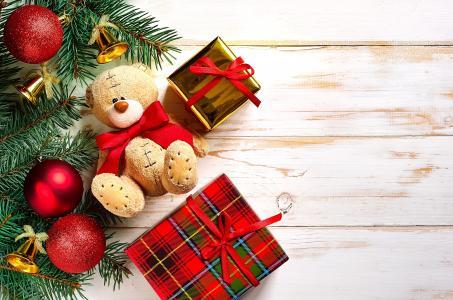 圣诞节,新年,礼品,装饰,玩具,熊,4k(水平)