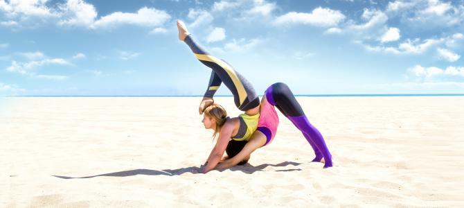 瑜伽,女孩,减肥,沙滩,沙,天空,放松,健身(水平)