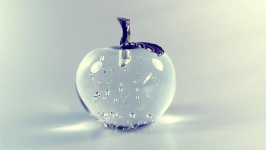 苹果,4k,高清壁纸,玻璃,透明(水平)