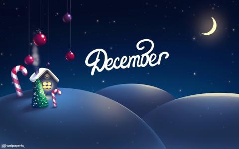 12月,圣诞装饰,房子,树,半个月亮,雪,高清