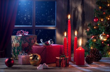 圣诞节前夕,礼物,礼物,蜡烛,装饰,4K