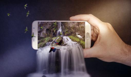 智能手机,瀑布,鸟,4K