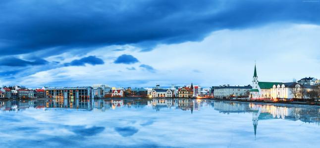 雷克雅未克,冰岛,河流,天空,4k(水平)