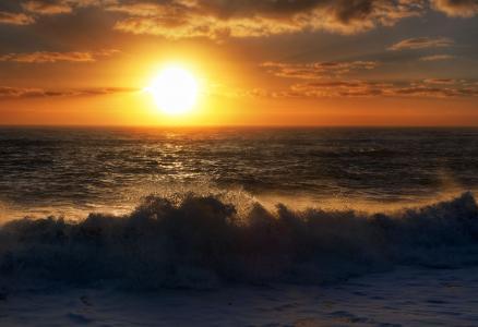 日落,波浪,海,海滩,潮汐,5K