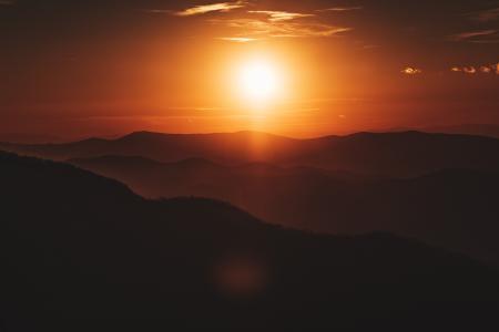 日落,山,雪兰多国家公园,弗吉尼亚州,美国,5K
