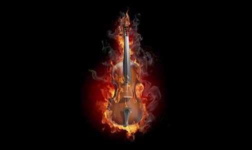 小提琴,火,4K,黑暗
