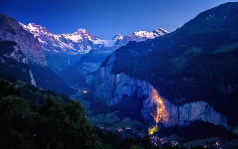 深谷,山,瑞士,4K