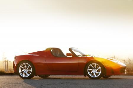 特斯拉跑车,电动车,特斯拉汽车,跑车,红色,侧面,速度,审查,试驾(横向)