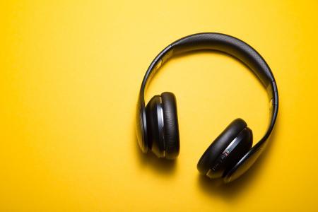 耳机,黄色背景,高清,5K