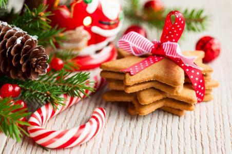 圣诞饼干,新年,装饰品,分支(水平)