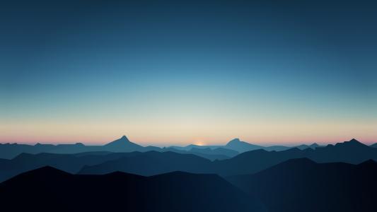 山,最小,CGI,日出,黑暗,5K