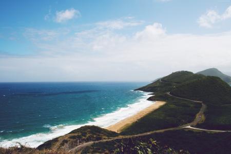 圣基茨,5k,4k壁纸,尼维斯,加勒比海,海岸,天空(水平)