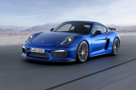 保时捷cayman GT4,轿跑车,轨道,蓝色。