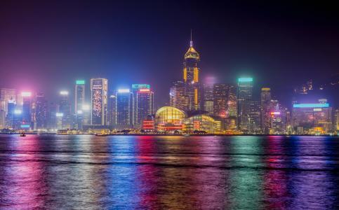 香港,天际线,夜景,4K