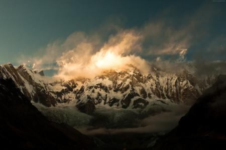 安纳布尔纳,5k,4k壁纸,喜马拉雅山,尼泊尔,云,山,日落(水平)