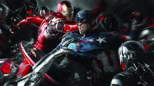 铁人,美国队长,内战,概念艺术