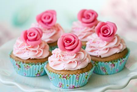 松饼,鲜花,粉红色,蛋糕(水平)