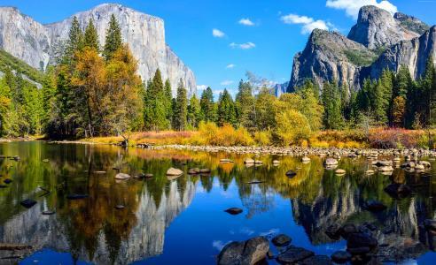 优胜美地,5k,4k壁纸,埃尔卡皮坦,森林,OSX,苹果,山,湖泊(水平)