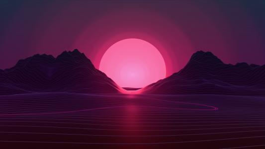 日落,霓虹灯,粉红色,4K