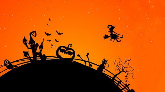 万圣节南瓜,城堡,蝙蝠,万圣节女巫,高清,4 k