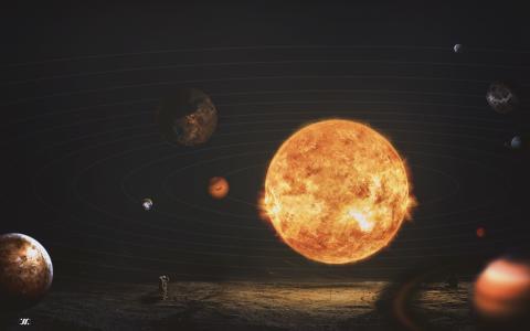 太阳系,太阳,行星,宇航员,高清