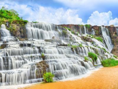 Pongour瀑布,4k,高清壁纸,瀑布,旅游,Pongour,瀑布,大叻,越南,山,河(水平)