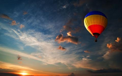 热气球,日落
