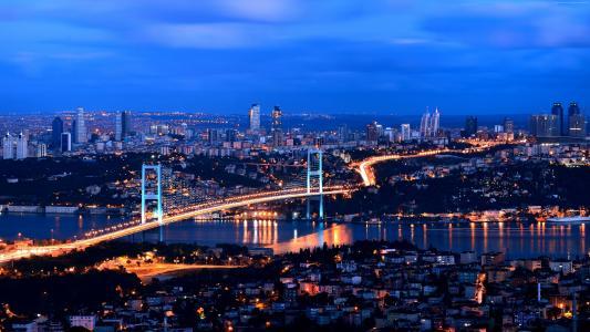 土耳其,伊斯坦布尔,晚上,4k(水平)