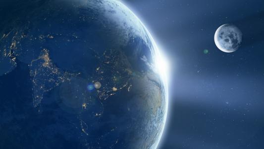 地球,月亮,日出,印度,高清,4K,8K