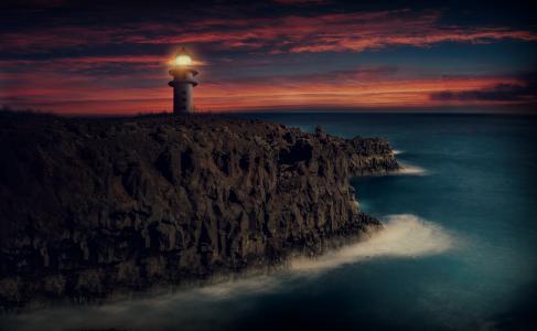 灯塔,日落,黄昏,高清,5K
