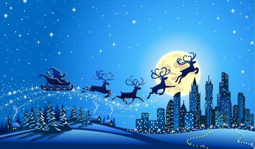 驯鹿战车,城市,圣诞老人雪橇,圣诞老人,4 k