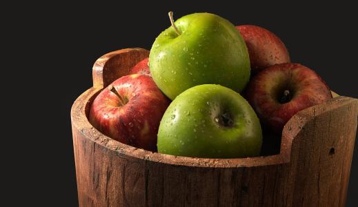 苹果,绿色,红色,黑暗的背景,水果,高清